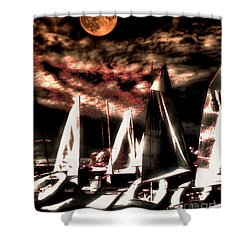 Shower Curtain featuring the tapestry - textile Moonlight Cruise by Robert McCubbin