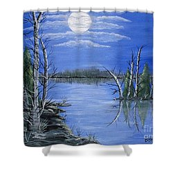 Shower Curtain featuring the painting Moonlight Mist by Brenda Brown
