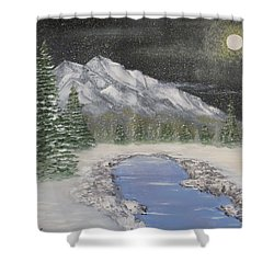 Moonlight Mountain Shower Curtain by Tim Townsend