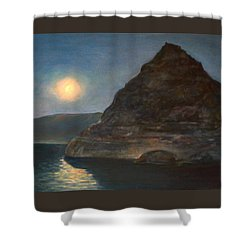 Shower Curtain featuring the painting Moonlight On Pyramid Lake by Donna Tucker