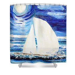 Moonlight Sail Shower Curtain by Diane Pape