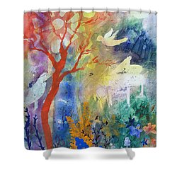 Shower Curtain featuring the painting Moonlight Serenade by Robin Maria Pedrero
