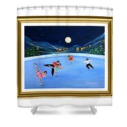 Moonlight Skating. Inspirations Collection. Card Shower Curtain