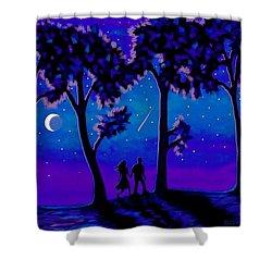 Moonlight Walk Shower Curtain by Sophia Schmierer