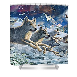 Moonlight Wolfpack Shower Curtain by Adrian Chesterman