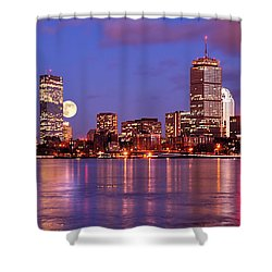 Moonlit Boston On The Charles Shower Curtain by Mitchell R Grosky