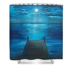 Moonlit Dock Shower Curtain