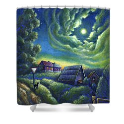 Shower Curtain featuring the painting Moonlit Dreams Come True by Retta Stephenson