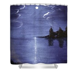 Moonlit Lake Shower Curtain