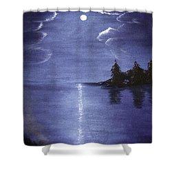 Moonlit Lake Shower Curtain by Judy Hall-Folde
