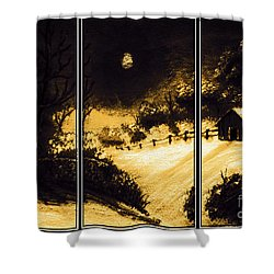 Moonlit Night Triptych Shower Curtain by Barbara Griffin