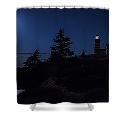 Shower Curtain featuring the photograph Moonlit Panorama West Quoddy Head Lighthouse by Marty Saccone