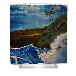 Moonlit Wave 11 Shower Curtain