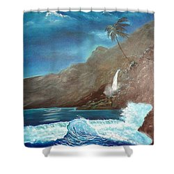 Shower Curtain featuring the painting Moonlit Wave by Jenny Lee
