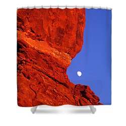 Shower Curtain featuring the photograph Moonrise Balanced Rock Arches National Park Utah by Dave Welling