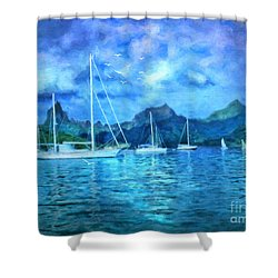 Moonrise In Mo'orea Shower Curtain