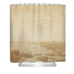 Moonrise On The Sea Shower Curtain by Caspar David Friedrich