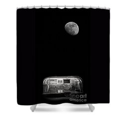 Moonrise Over Airstream Shower Curtain