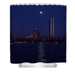 Moonrise Over Boston Skyline July 1982 Shower Curtain by Thomas Marchessault