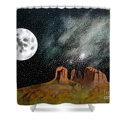 Moonrise Over Sedona Shower Curtain by John Lyes