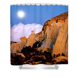 Moonrise Over The Kaiparowits Plateau Utah Shower Curtain by Ed  Riche