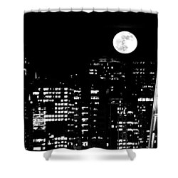 Moonrise Seattle Shower Curtain by Benjamin Yeager