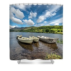 Moored Boats  Shower Curtain by Adrian Evans