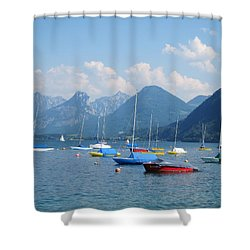 Shower Curtain featuring the photograph Moored Boats by Pema Hou