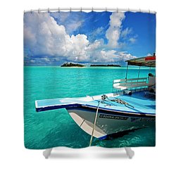 Moored Dhoni At Sun Island. Maldives Shower Curtain by Jenny Rainbow