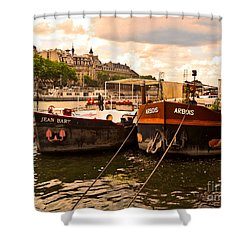 Moored Shower Curtain by Lauren Leigh Hunter Fine Art Photography