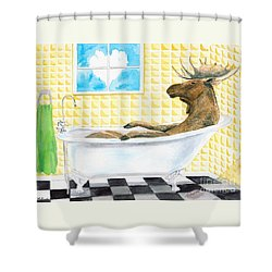 Moose Bath Shower Curtain by LeAnne Sowa
