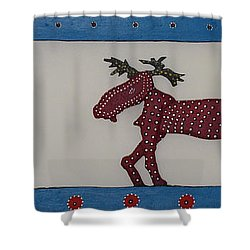 Shower Curtain featuring the sculpture Moose Coming Home For Christmas by Robert Margetts