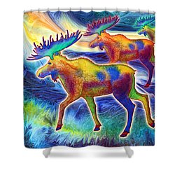 Shower Curtain featuring the mixed media Moose Mystique by Teresa Ascone
