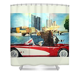 Moose Rapids Il Shower Curtain by LeAnne Sowa