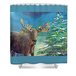 Moosey Christmas Shower Curtain by LeAnne Sowa