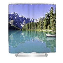 Moraine Lake And Valley Of The Ten Shower Curtain by Ken Gillespie