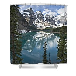 Moraine Lake Overlook Shower Curtain
