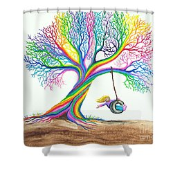 More Rainbow Tree Dreams Shower Curtain by Nick Gustafson