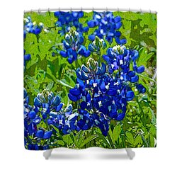 More Texas Bluebonnets - Posterized Image Shower Curtain
