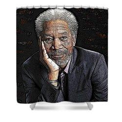Shower Curtain featuring the painting Morgan Freeman  by Georgeta Blanaru