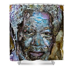 Shower Curtain featuring the painting Morgan In Blue by Laur Iduc