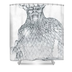 Shower Curtain featuring the drawing Morgoth And Fingolfin by Curtiss Shaffer