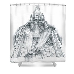 Shower Curtain featuring the drawing Morgoth Bauglir by Curtiss Shaffer