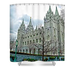 Mormon Temple In Early Spring Shower Curtain