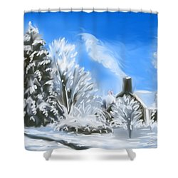 Morning After The Snowstorm  Shower Curtain by Jean Pacheco Ravinski