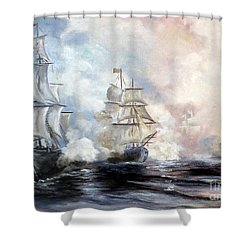 Shower Curtain featuring the painting Morning Battle by Lee Piper