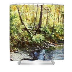 Morning By The River Shower Curtain