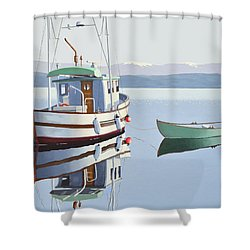 Morning Calm-fishing Boat With Skiff Shower Curtain