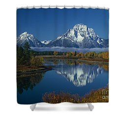 Morning Cloud Layer Oxbow Bend In Fall Grand Tetons National Park Wyoming Shower Curtain by Dave Welling
