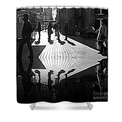Shower Curtain featuring the photograph Morning Coffee Line On The Streets Of New York City by Lilliana Mendez